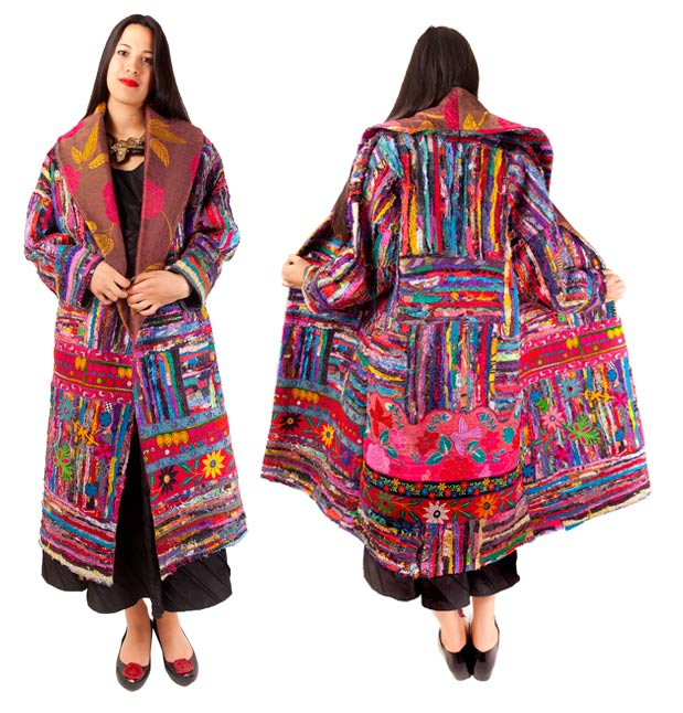 Wrap coat of collaged miked fabrics with vintage Indian and Mexican embroideries