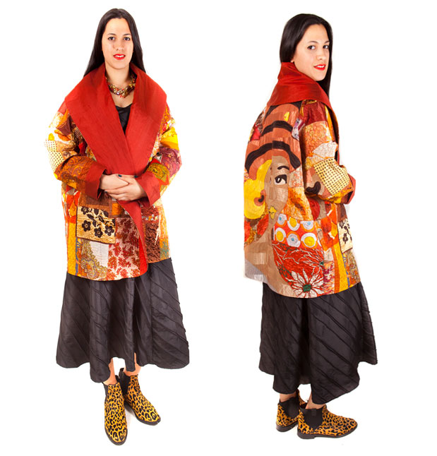 Wrap coat of 1950's and 60's silk scarves with machine embroidery