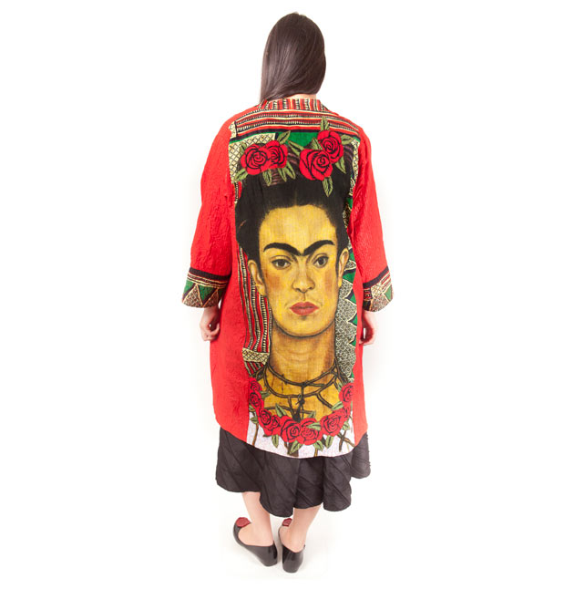 Cotton kimono coat with Frida Khalo & roses