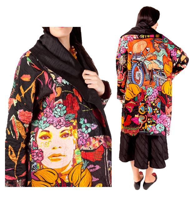 Wrap coat made from silk scarves with face and figure applique