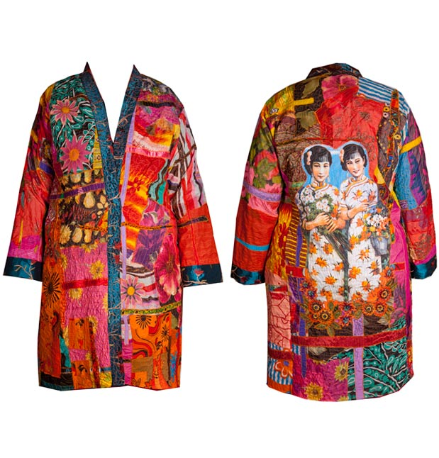 Kimono coat made from silk chiffons with Japanese figures and flowers
