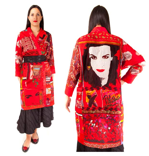 Kimono coat made from silk scarves with machine embroidery