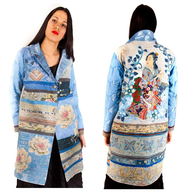 Coat of hand dyed 1950's brocade & silks with vintage embroidery strips and appliqued flowers