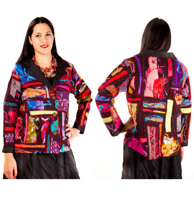 Cotton jacket with silk braids,threads and machine embroidery