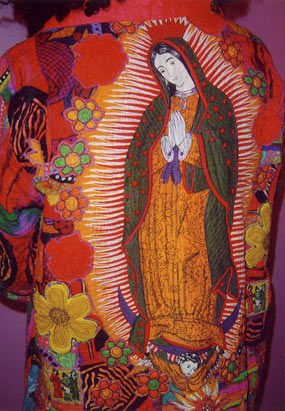 Mexican Madonna with flower appliqué