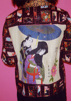 Japanese cotton collage with figures