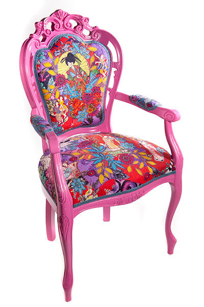 StitchedHandpainted chair with stitched and appliqued 1950's fabric