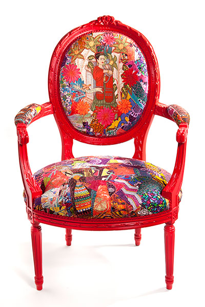 Hand painted chair – with stitched and appliqued 1950's fabric